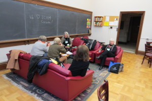 PN Ed. students chat in the lounge of Emmanuel College.