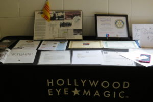 Front view of guest speaker's table display.