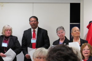 Left to right, standing, Karen Scott and Joseph D'Souza (incoming board members), Ethel Bull and Carol R-K, board members. Seated on far right, Heather Thompson, board member.